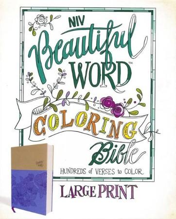 NIV, Beautiful Word Coloring Bible, Large Print, Imitation Leather, Purple  and Tan