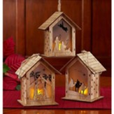 Lighted Nativity House Ornament Gift Set