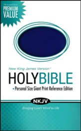 NKJV Essential Personal Size Giant Print Reference Bible, Leathersoft Rich Royal Blue