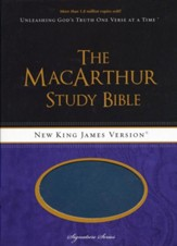 NKJV MacArthur Study Bible, Leathersoft Salmon & Dusk Blue