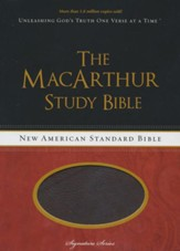 NASB MacArthur Study Bible, Leathersoft Cranberry & Earth Brown - Slightly Imperfect