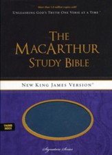 NKJV MacArthur Study Bible, Leathersoft Salmon & Dusk Blue Indexed - Slightly Imperfect
