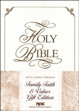 KJV Family Faith & Values Bible, Gift edition, Imitation Leather, White - Slightly Imperfect