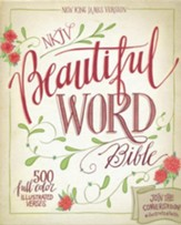 NKJV Beautiful Word Bible--soft leather-look, taupe/peacock blue - Slightly Imperfect