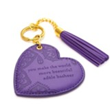 You make the world more beautiful vegan leather keychain, purple