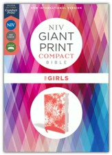 NIV Giant-Print Compact Bible for  Girls, Comfort Print--soft leather-look, coral
