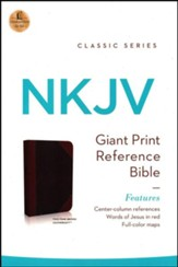NKJV Giant Print Center-Column Reference Bible, Imitation Leather, Expresso/Auburn Indexed