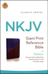 NKJV Giant Print Center-Column Reference Bible, Imitation Leather, Navy/Brown Indexed