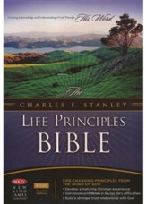 NKJV Charles Stanley Life Principles Bible, Bonded leather, burgundy--indexed