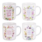 Springtime Blessings--Inspirational Floral Mugs, Set of 4