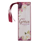 His Grace is Enough Bookmark, LuxLeather Floral Design