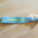Happy Heart Happy Life Hair Tie Bracelet, Neon Blue