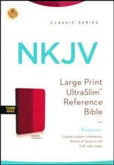 NKJV Large Print Ultraslim Reference Bible, Leathersoft Raspberry Pelt Indexed