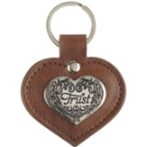 Trust Leather Keyring, Heart