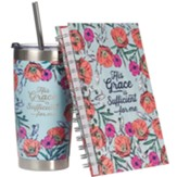 His Grace Is Sufficient For Me Wirebound Journal and Insulated Mug Gift Set