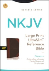 NKJV Large Print Ultraslim Reference Bible, Leathersoft Earth-Brown/Auburn Indexed