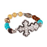 Multi-Beaded Stretch Bracelet with Antique Silvertone Sideways Cross