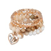 Blessed Multi-Row Stretch Bracelet with Heart Charm
