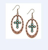 Burnished Copper Cross with Turquoise Stones Earrings
