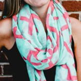 Mint with Pink Cross Scarf