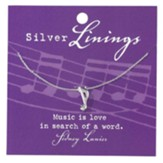 Music Note Necklace, Silver