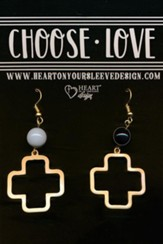 Cross Earrings, Black Stone Bead