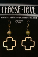 Cross Earrings, Brown Stone Bead