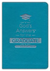 NKJV God's Answers for the Graduate, Class of 2021--soft leather-look, teal