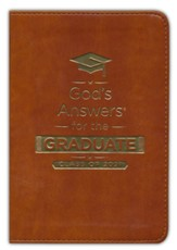 NKJV God's Answers for the Graduate, Class of 2021--soft leather-look, brown