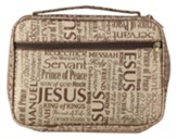 Names of Jesus Bible Cover, Jaquard Brown, X-Large
