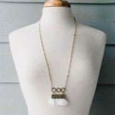 Gold Necklace with White Fringe