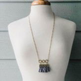 Gold Necklace with Grey Fringe