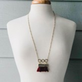 Gold Necklace with GARNET Fringe