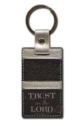 Trust in the Lord, Proverbs 3:5 Keychain, Black and Silver