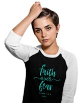Faith Over Fear, 3/4 Raglan Sleeve Shirt, Black/White, Medium