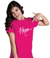 Hope, Breast Cancer Awareness Ribbon, Short Sleeve Shirt, Pink, Medium