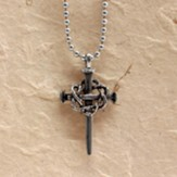 Crown of Thorns Cross Pendant on 30 Ball Chain
