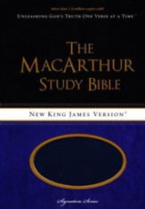 NKJV MacArthur Study Bible--soft leather-look, auburn/navy