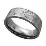 Cross and Fish Tribal Ring, Silver, Size 10