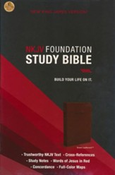 NKJV Foundation Study Bible--imitation leather, earth brown (indexed) - Slightly Imperfect