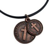 Latin Coins with Cross, Copper, Black Cord
