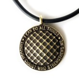Golf, Phillipians 4:13 Pendant,  Brass, Black Cord