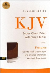 KJV Super Giant-Print Reference Bible--soft leather-look, brown/dark mahogany (indexed)