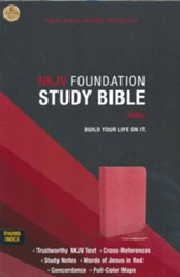 NKJV Foundation Study Bible--imitation leather, coral sheen (indexed) - Slightly Imperfect