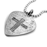Guitar Pick with Cross, Petwer, Ball Chain