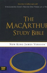 NKJV MacArthur Study Bible--soft leather-look, auburn/navy (indexed)
