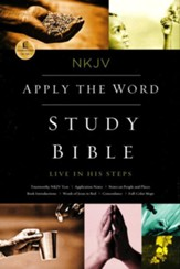 NKJV Apply the Word Study Bible--soft leather-look, deep rose/black
