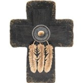 3-Feather Beaded Black & Gold Cross