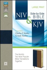 NIV and KJV Side-by-Side Bible, Large Print,   Italian Duo-Tone, Navy/Tan