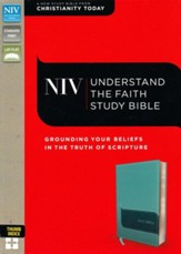 NIV Understand the Faith Study Bible--soft leather-look, turquoise (indexed) - Slightly Imperfect